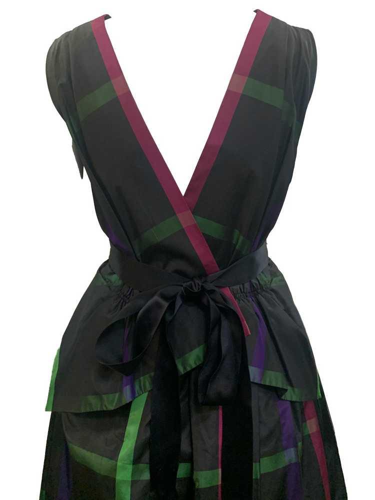 Pauline Trigere 70s Plaid Silk Taffeta Gown - image 4