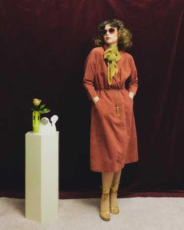 1970s Halston dusty rose ultrasuede dress