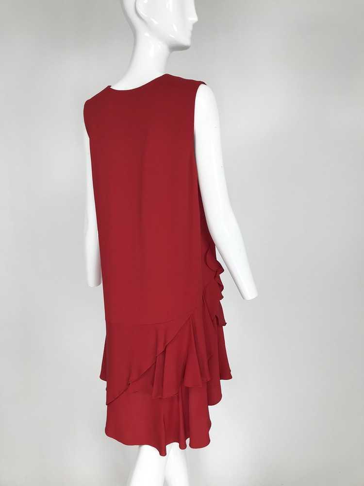 Lanvin Cherry Red Silk Blend Crepe Chemise Dress - image 7