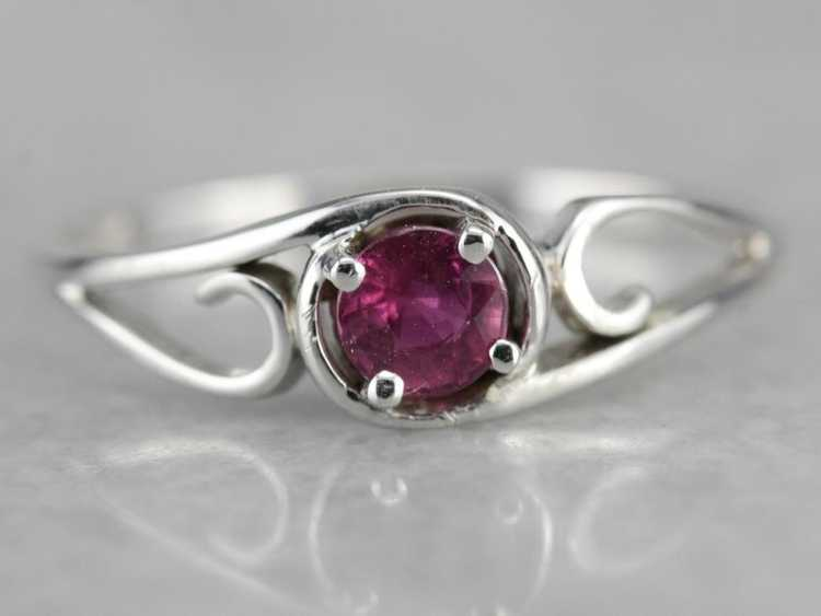 White Gold Ruby Solitaire Ring - image 1