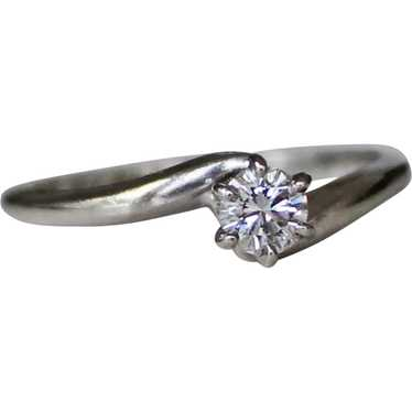 Sparkling Diamond Solitaire Bypass 14K White Gold