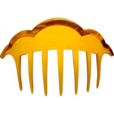 Art Dec hair comb amber celluloid hair accessory