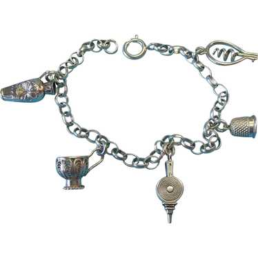 RARE Vintage Silver French Charm Bracelet 1838 and