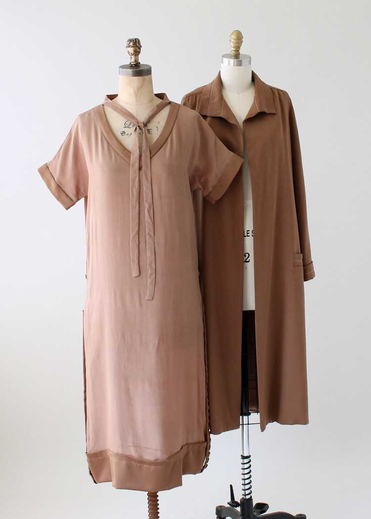 Vintage 1920s Brown Silk Day Dress with Duster Co… - image 1