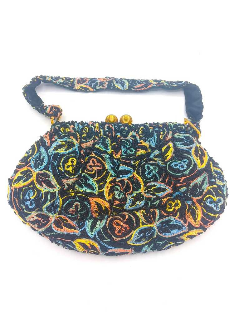 40s Purse Black Beaded and Embroidered evening pu… - image 1