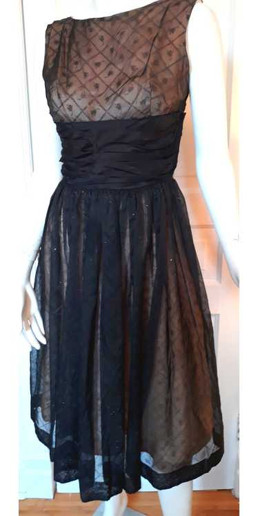 1950s Party Dress - S/M Black Flowing Dress with S