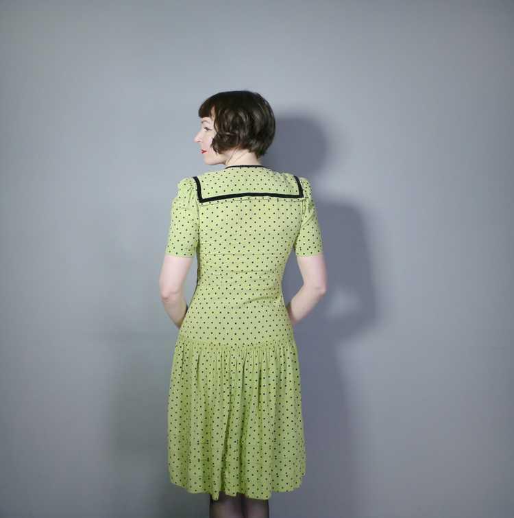 30s 40s LIME GREEN AND BLACK POLKA DOT TEA DRESS … - image 3