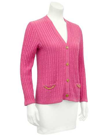 Celine Pink Wool Cable Knit Cardigan