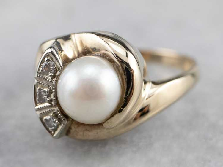 Vintage Pearl and Diamond Ring - image 3