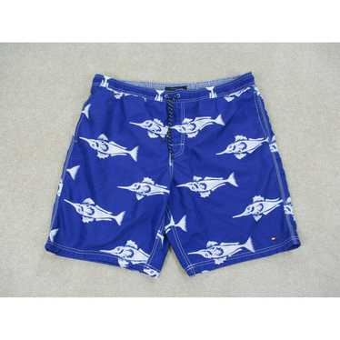 Small 90/'s Tommy Hilfiger Tommy Trunks swim trunks bathing suit men/'s Foul Weather Squad blue white 1990/'s board shorts
