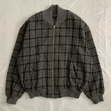 1990s CDGH Wool Charcoal Grey Checkered Bomber - S