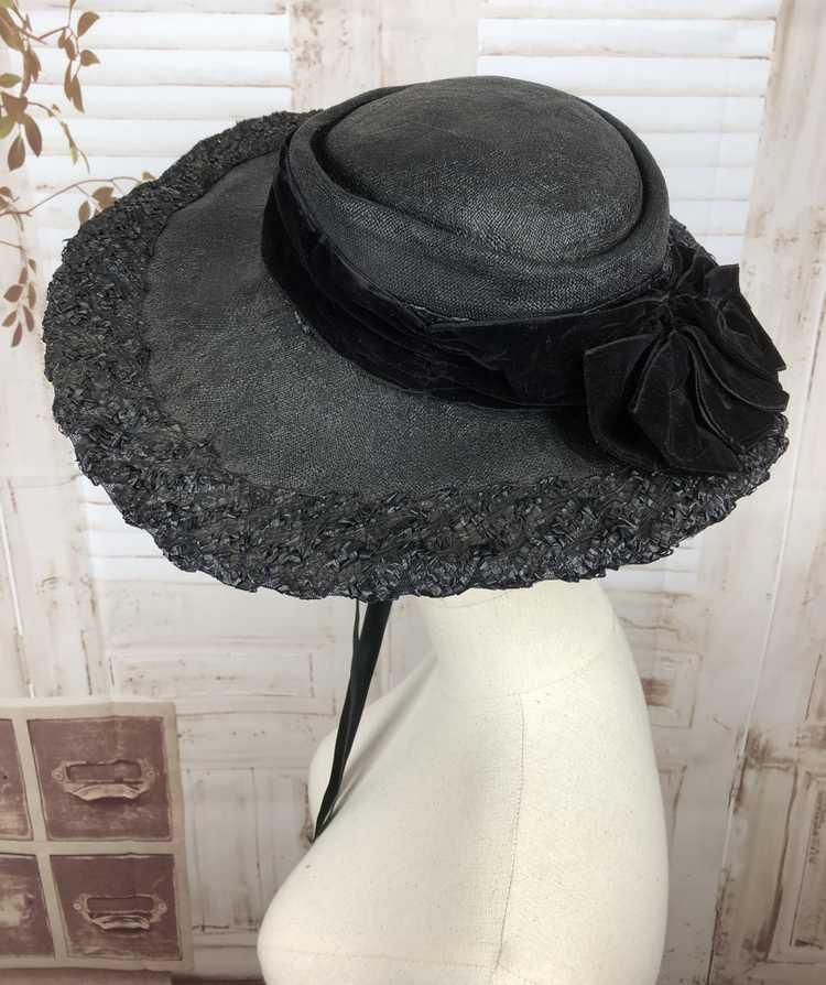 Original 1930s 30s Black Straw And Velvet Wide Br… - image 7