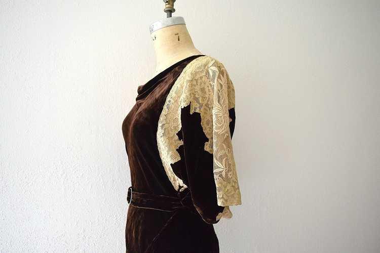 1930s velvet gown . vintage 30s bias cut dress - image 5