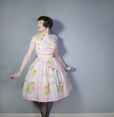 L'AIGLON PASTEL NOVELTY FRUIT PRINT 50s 60s SEMI S