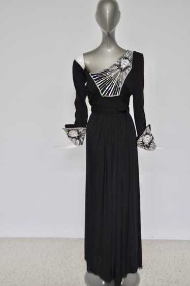 Bill Gibb empire maxi dress with beadwork 1970s ra