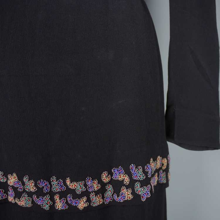30s 40s BLACK CREPE EVENING DRESS WITH BEADED PEP… - image 13
