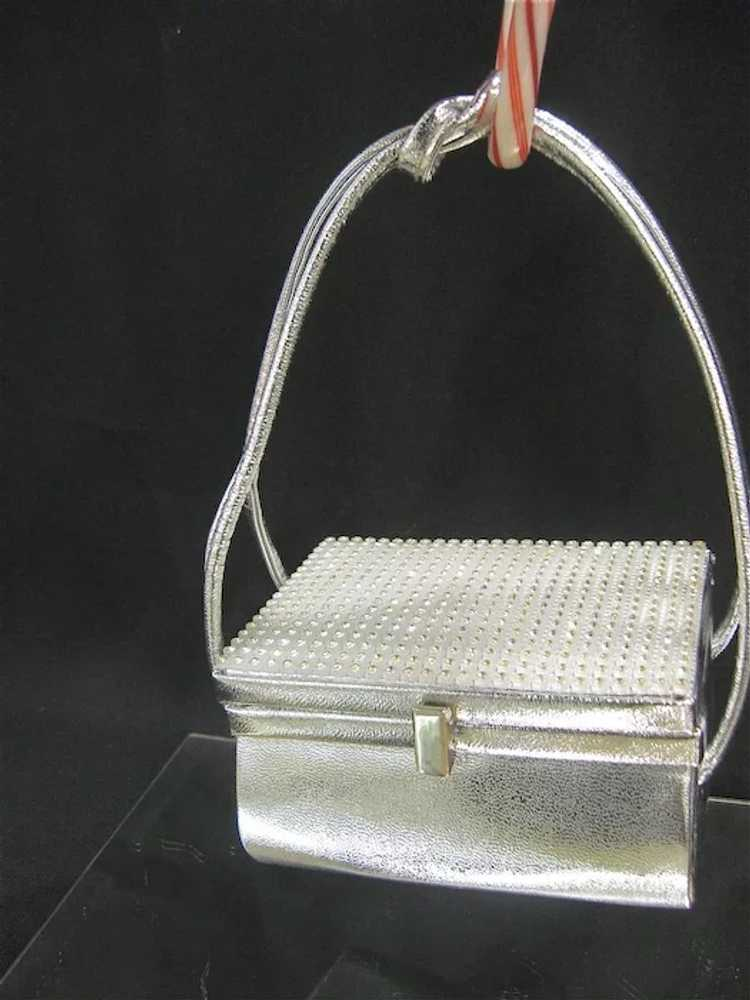 Arnold Scaasi Silver Studded Evening Bag - image 2