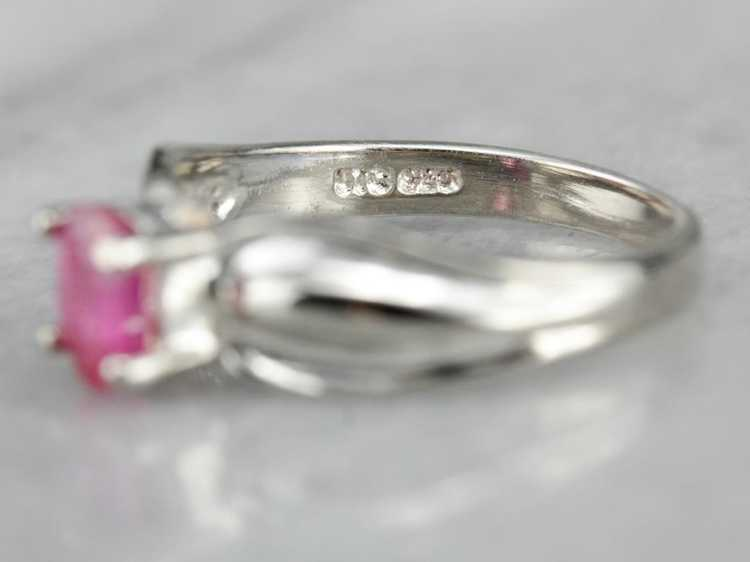 Ruby Solitaire Ring in Sterling Silver - image 3