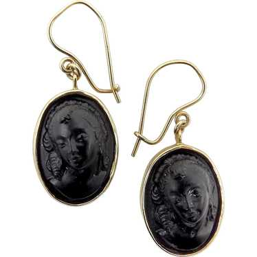 Victorian 14K Gold and Vulcanite Cameo Earrings