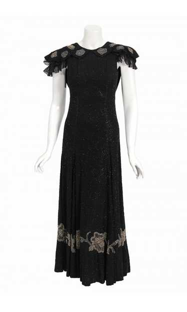 1930's French Couture Beaded Black Silk Flutter Sl