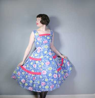 50s FEATHERY FLORAL BLUE COTTON DRESS WITH TIERED… - image 1