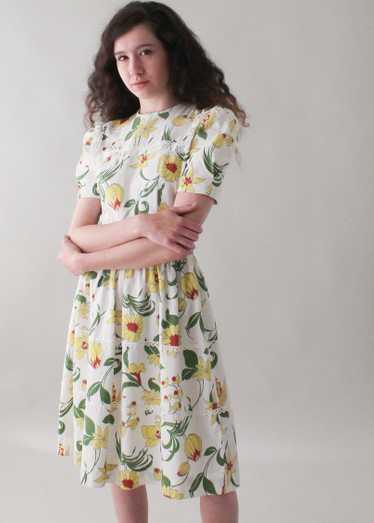 Vintage 1930s Floral Pique Cotton Day Dress