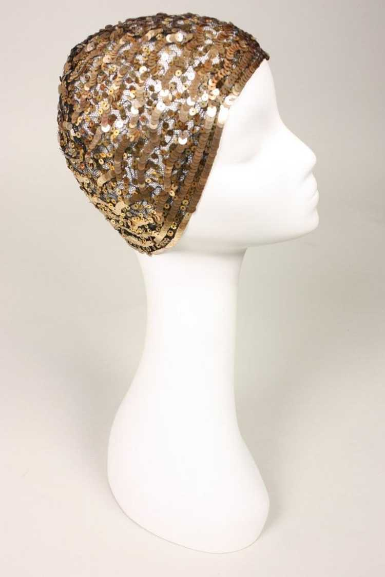 1930's Skull Cap Sequined Vintage - image 3