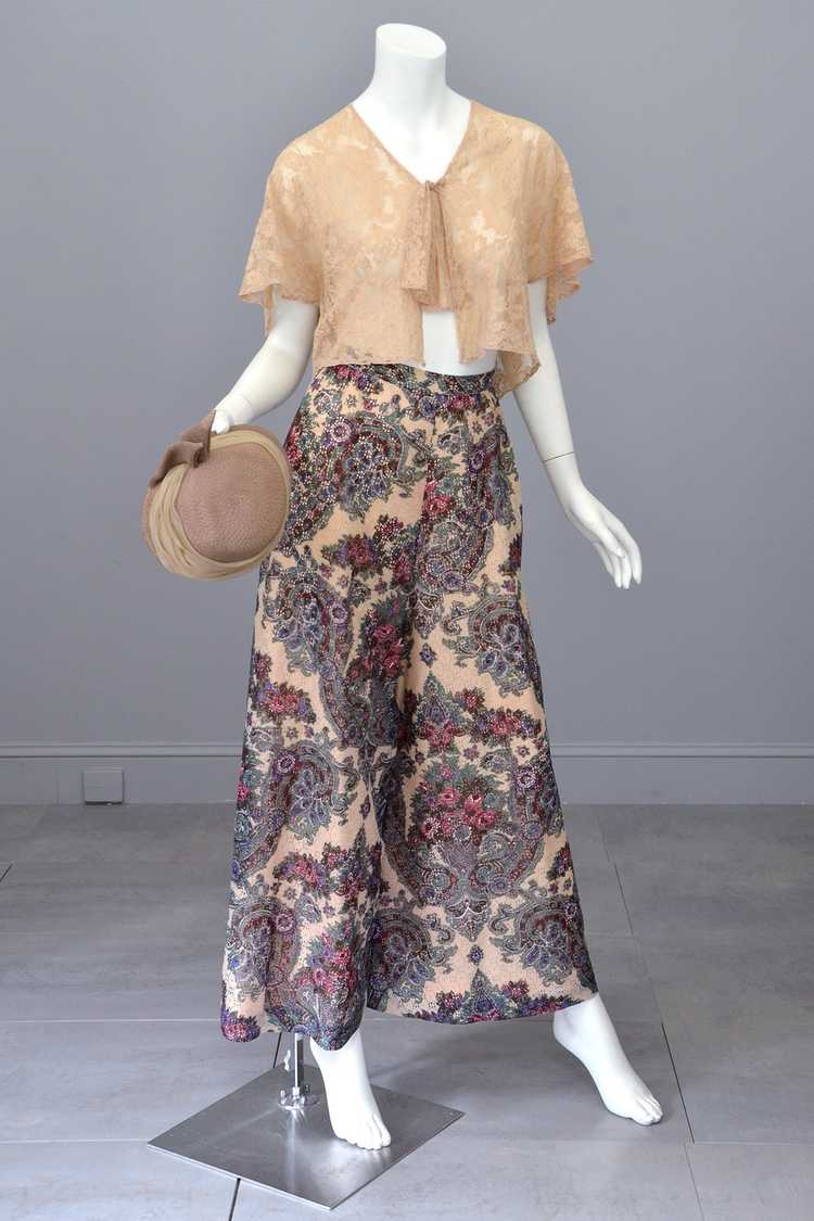 1970s Lacey Floral Print Palazzo Pants - image 1