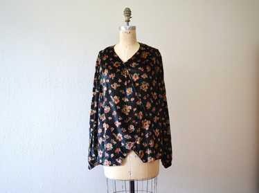 1920s velvet blouse . vintage 20s dark floral top