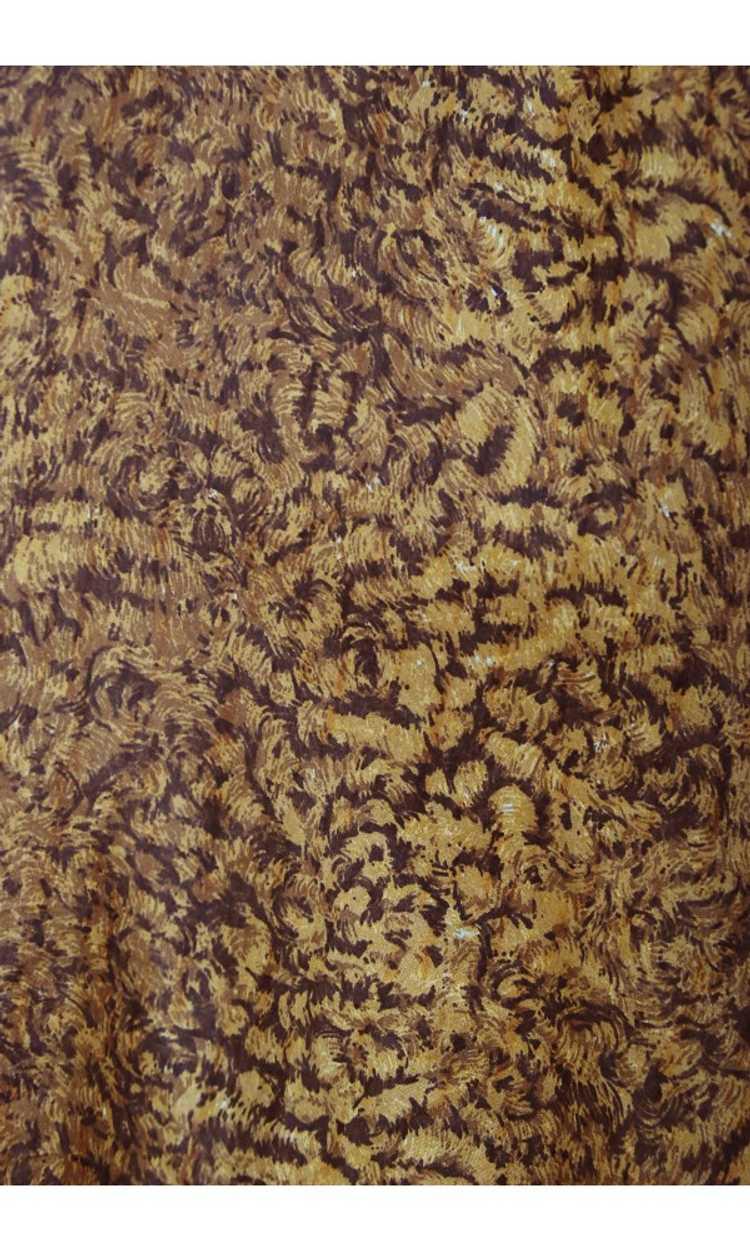 1987 Azzedine Alaia Documented Golden Print Silk … - image 8