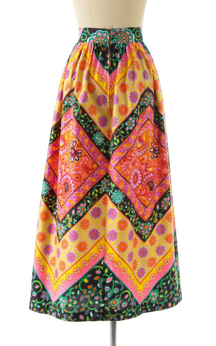 NEW ARRIVAL || 1960s Floral Geometric Maxi Skirt … - image 4