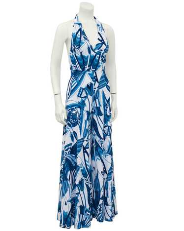 Blue and White Terrycloth Jumpsuit