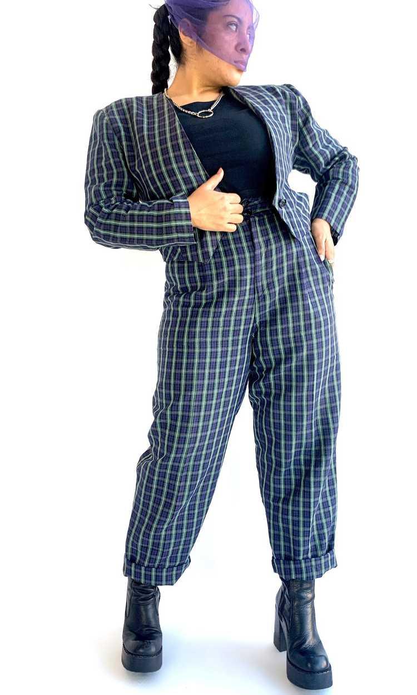 Plaid Linen Suit Set - image 1