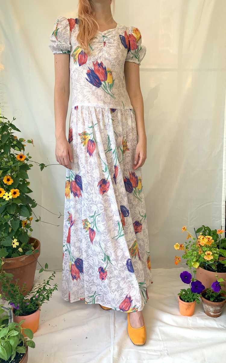 Tulip Print Voile Garden Party Dress - image 1