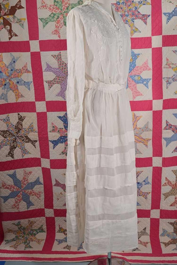 Antique Edwardian Lawn Dress, Embroidered Details - image 8