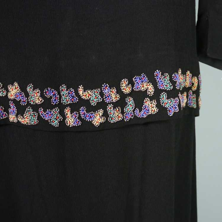 30s 40s BLACK CREPE EVENING DRESS WITH BEADED PEP… - image 10