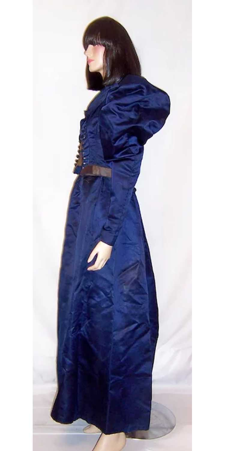 Vivid Navy Victorian (1890's The Gilded Age) Silk… - image 2