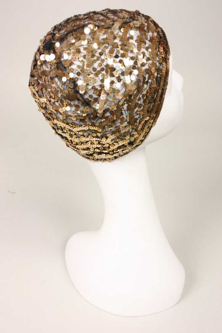 1930's Skull Cap Sequined Vintage - image 5