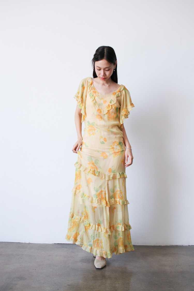 1930s Chiffon Silk Yellow Floral Dress w/ Bolero - image 7