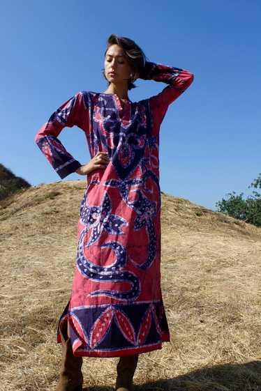 Vintage Zodiac Pisces Dress 1970s Batik Deadstock
