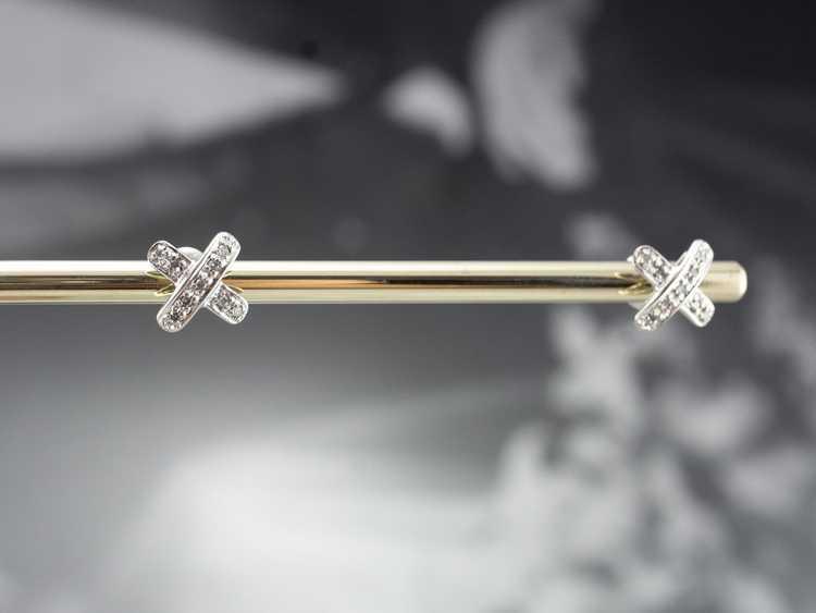 Diamond X Stud Earrings - image 10