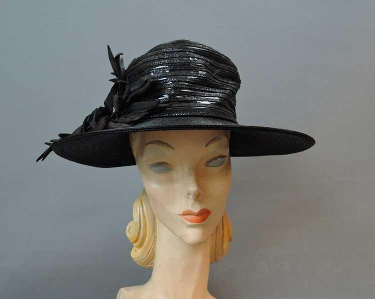 Vintage Wide Brim Hat, 1940s Straw & Shiny Vinyl,… - image 2