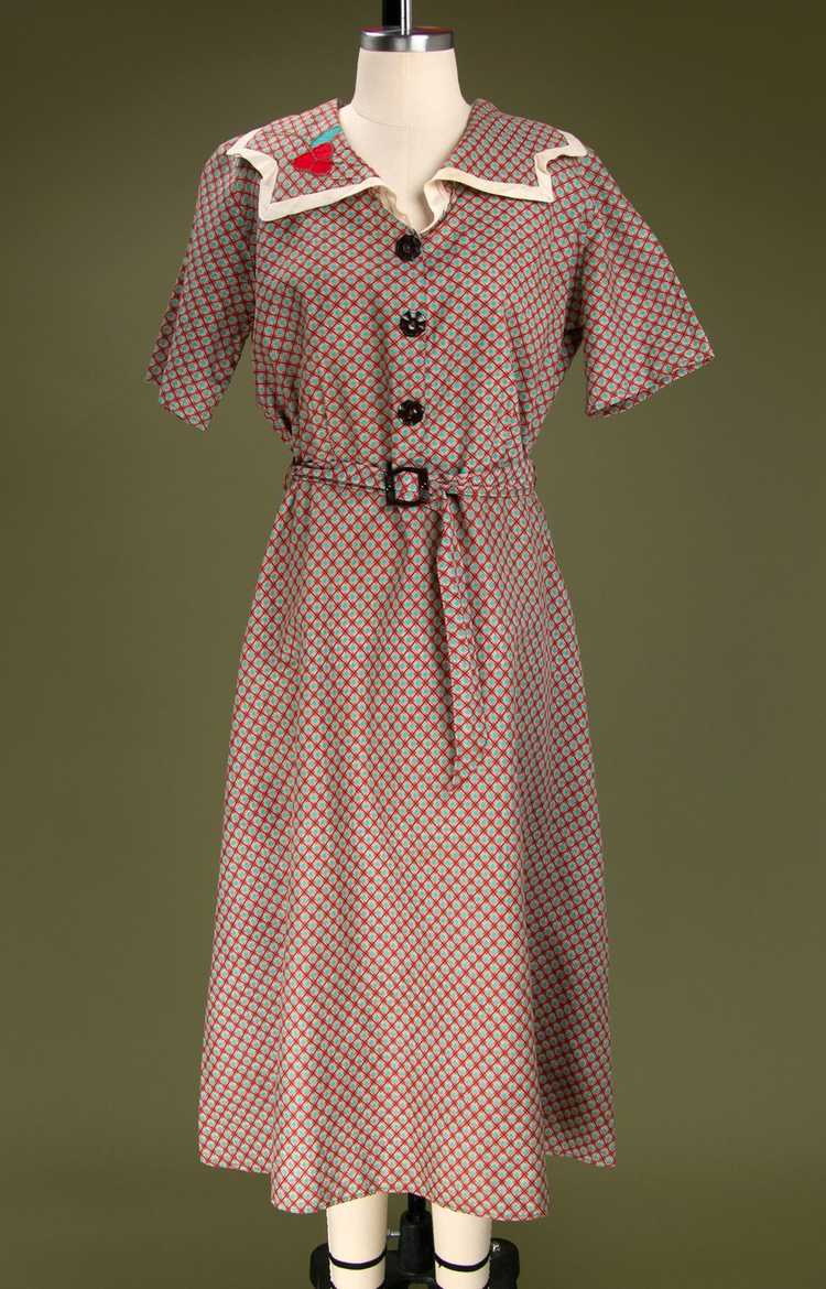 Vintage 1930's - Early 1940's Cotton Dress - image 2