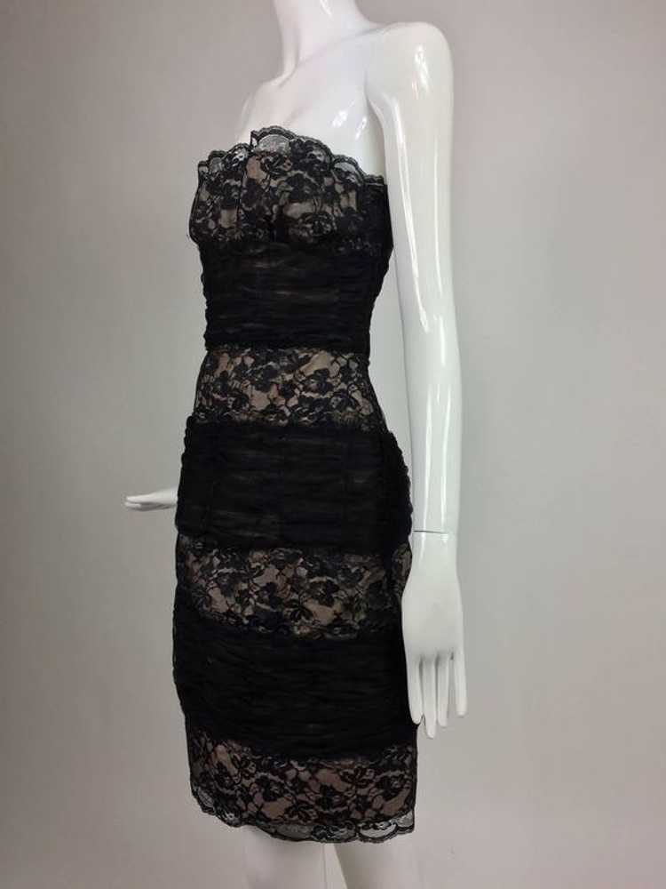 Arnold Scaasi Black Lace and Tulle Strapless Cock… - image 3