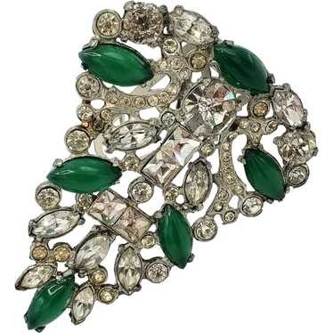 ELEGANT 1930's Green and Clear Dress Clip