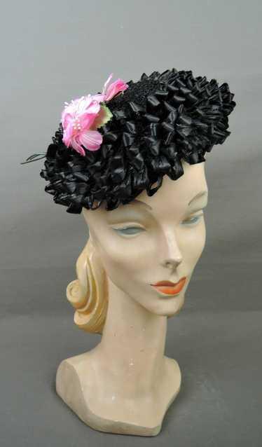 Vintage Black Floral Raffia Hat 1960s Pink & Velve