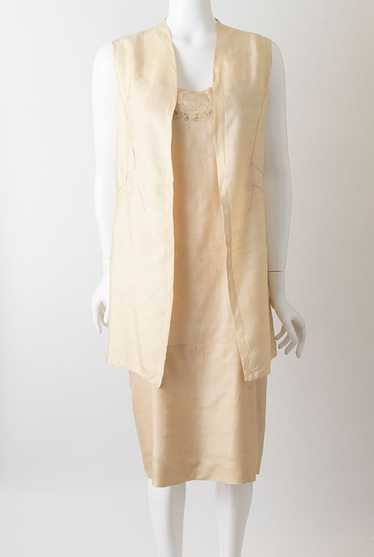 Deco 1920s Long Pongee Flapper Vest
