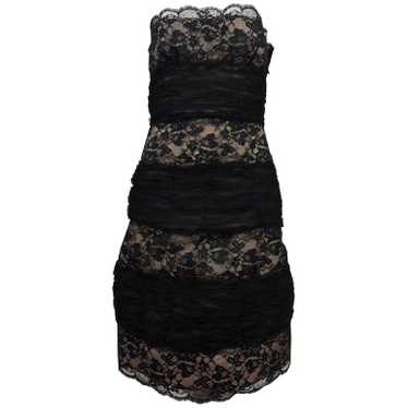Arnold Scaasi Black Lace and Tulle Strapless Cock… - image 1