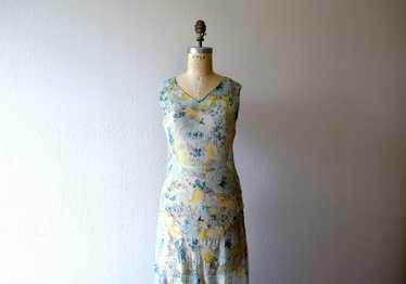 1920s 1930s chiffon dress . vintage floral print d
