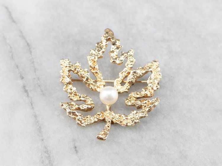 Vintage Gold and Pearl Maple Leaf Brooch - image 2